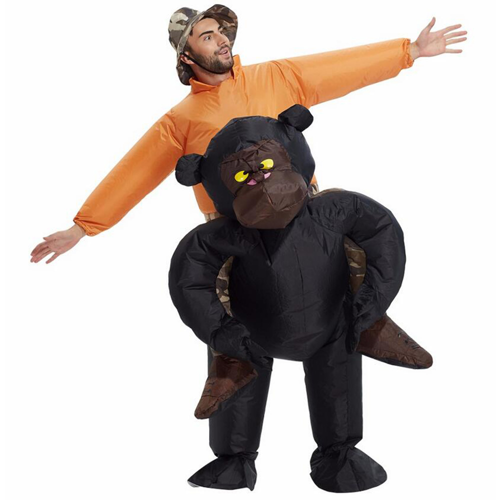 Christmas Women/Men Riding Inflatable Gorilla Costume Cosplay Funny Inflatable Party Costume Halloween Monkey Costume for Adults