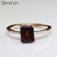 Simffvn 925 Sterling Silver 6 8mm Luxury Emerald Cut Natural Red Garnet For Women Engagement Rring