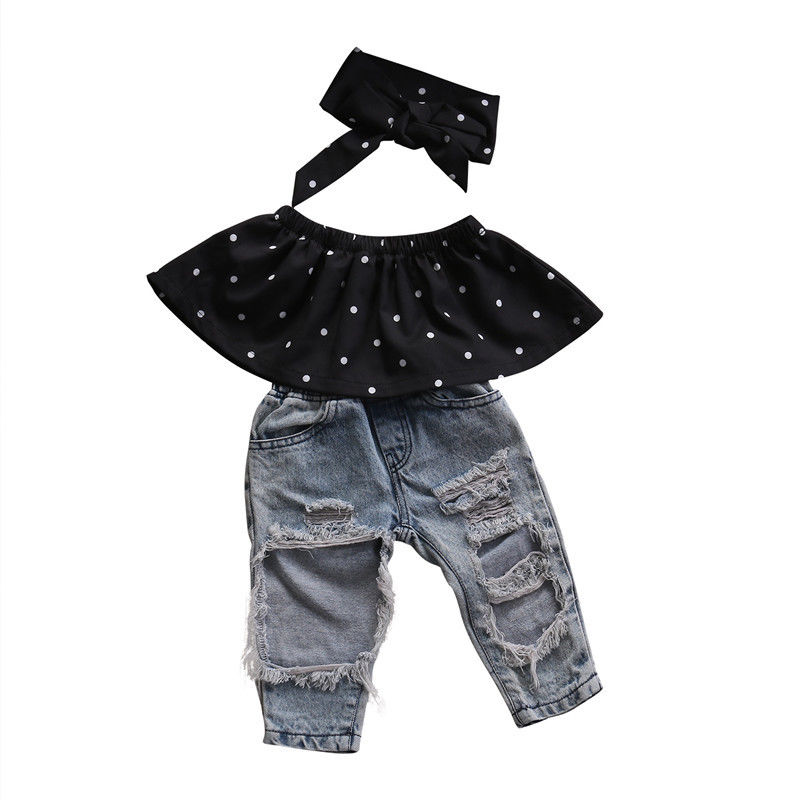 3pcs Adorable Outfit Infant Baby Girls Off Shoulder Tops Newborn Girls Polka Dots Summer Ruffle Tops Hole Jeans Cute Headband