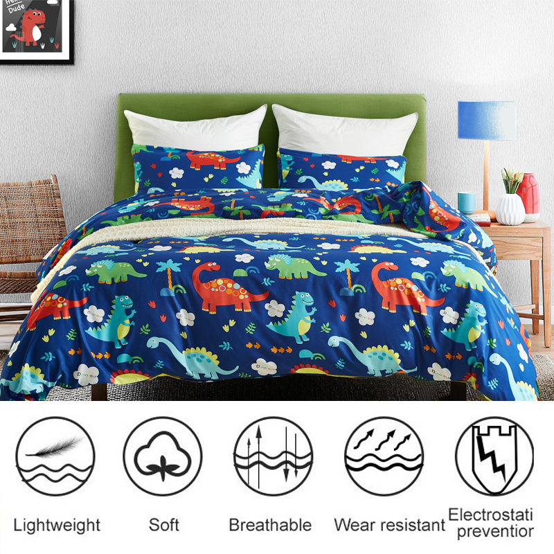 Dinosaur Duvet Cover Set Microfiber Fabric Bedding Set With Quilt Cover Pillowcase Soft Breathable Bed Cover For Comforter Case
