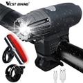 WEST BIKING водонепроницаемый руль для велосипеда  яркий фонарь для подзарядки USB  портативное предупреждение  MTB дорожный велосипед  светодиодн...