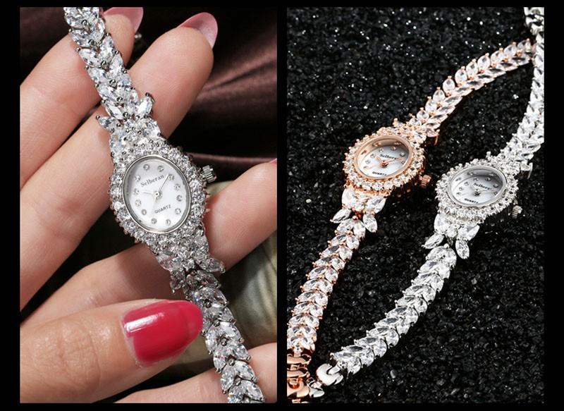 16 50M Waterproof Selberan Gold/Silver Natural Zircon Wrist Watch for Women Luxury Ladies Bracelet Watch Montre Femme Strass 24