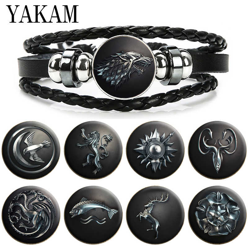 หนังสีดำMulti-Layerสร้อยข้อมือHouse Targaryen Family Game Of Thrones Snapปุ่มCharms Punk Stark Wolf Head pulsera