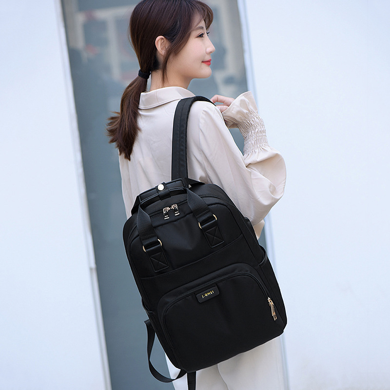 Image 3 - Waterproof Laptop Backpack Female Fashion Girl Backpack 13 13.3 14 15 15.4 15.6 inch Back pack Women men Oxford cloth Black Pink-in Laptop Bags & Cases from Computer & Office