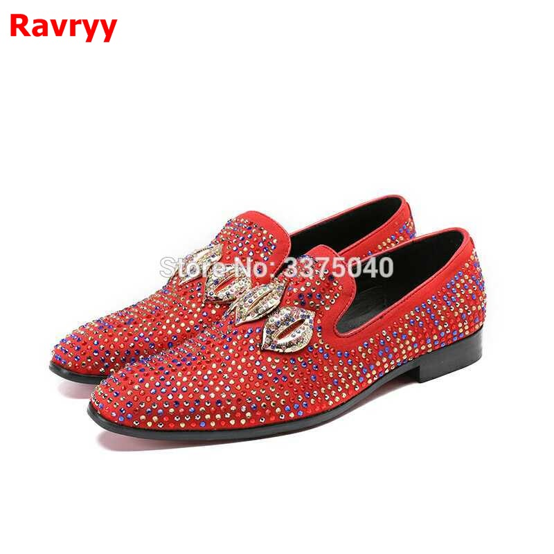 Luxury Men Shoes Casual Colorful Crystal Designer Male Laofers Dress Round Toe Flats Party Shoes Man luxury pointed toe rivet casual shoes england designer party and banquet men loafers fashion young man walking street shoes