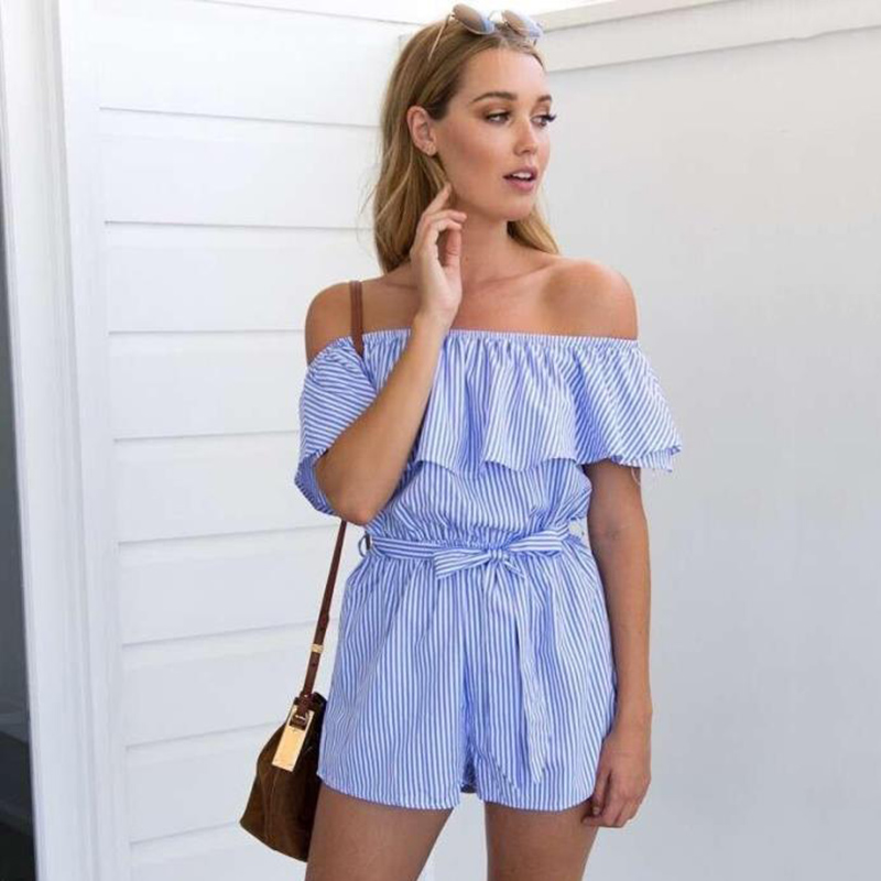 Sexy Off the Shoulder Short Pants   Jumpsuit   Ruffles Blue Striped Rompers Beach Casual Overalls Bodysuit Sashes 2019Summer Women