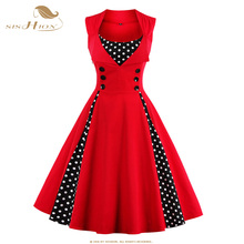 SISHION 2017 New 50s 60s Retro Vintage Dress Audrey Hepburn Sleeveless Spring Summer Patchwork Plus Size Red Women Dress VD0424