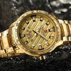 Image 3 - New Fashion Mens Watches Gold Full Steel Male Wristwatches Sport Waterproof Quartz Watch Men Military Hour Man Relogio Masculino