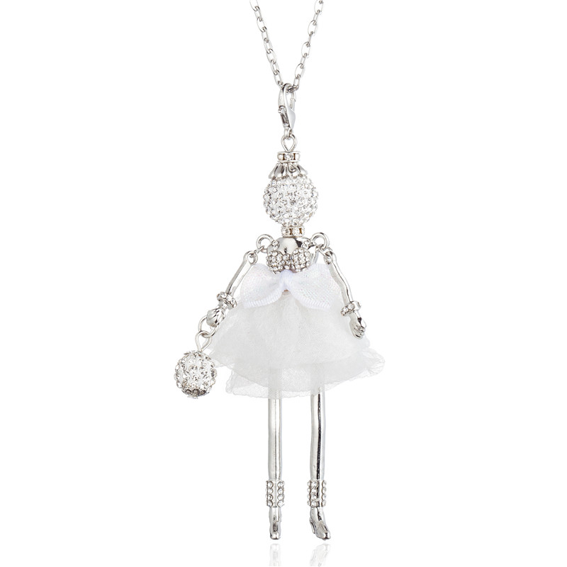 Lovely Rhinestone Bow knot Tutu Dress Doll Collar Necklace Fashion Handmade Long Chain Choker Statement Jewelry For Women Girls in Pendant Necklaces from Jewelry Accessories
