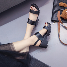 Liren 2019 Summer New Concise Comfortable Casual Lady Flat Heels Sandals Buckle Platform Non-slip Women Size 35-40
