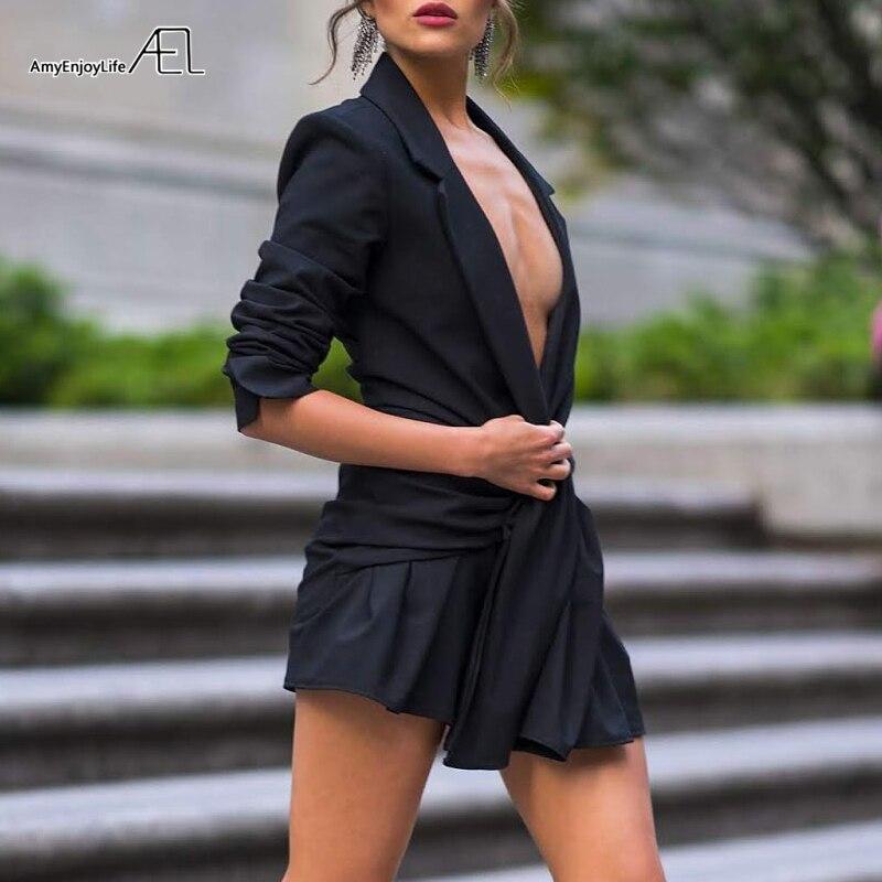 AEL Sexy Slim femmes robes soirée Blazer robe col cranté profond col en V costume robe 2019 automne moulante robes Femme