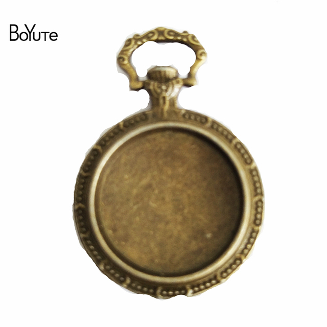 BoYuTe (20 Pieces/Lot) 20MM Cabochon Base Vintage Accessories Parts Alloy Material Pocket Watch Tray Pendant for Jewelry Making