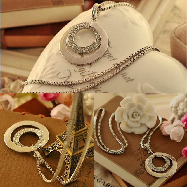 New Fashion Pretty Women's Silver Plated Crystal Rhinestone Long Chain Double Circle Pendant Charm Necklace