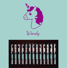 Unicorn Wall Decal Personalized Girls Name Vinyl Sticker Monogram Decoration DIY Wallpaper Poster 3N24