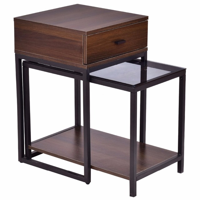 Goplus 2PCS Set Nesting Modern Coffee Side Table Wood Portable End Table Metal Frame Glass Top Coffee Tables with Drawer HW56083 3