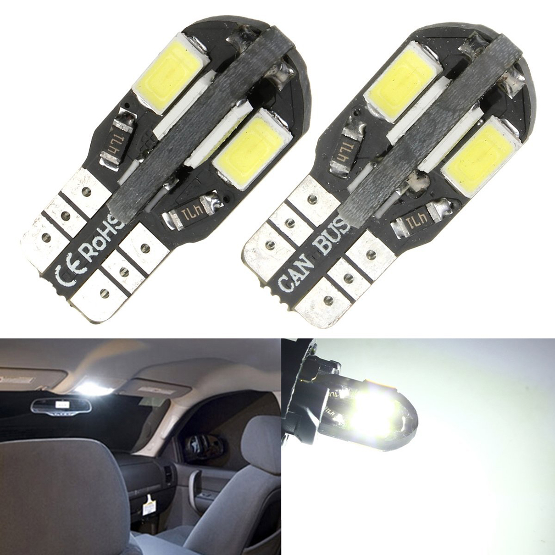 2 pcs T10 194 168 W5W 5730 8 SMD 12V Side for car crib Parkinglight license plate for car White