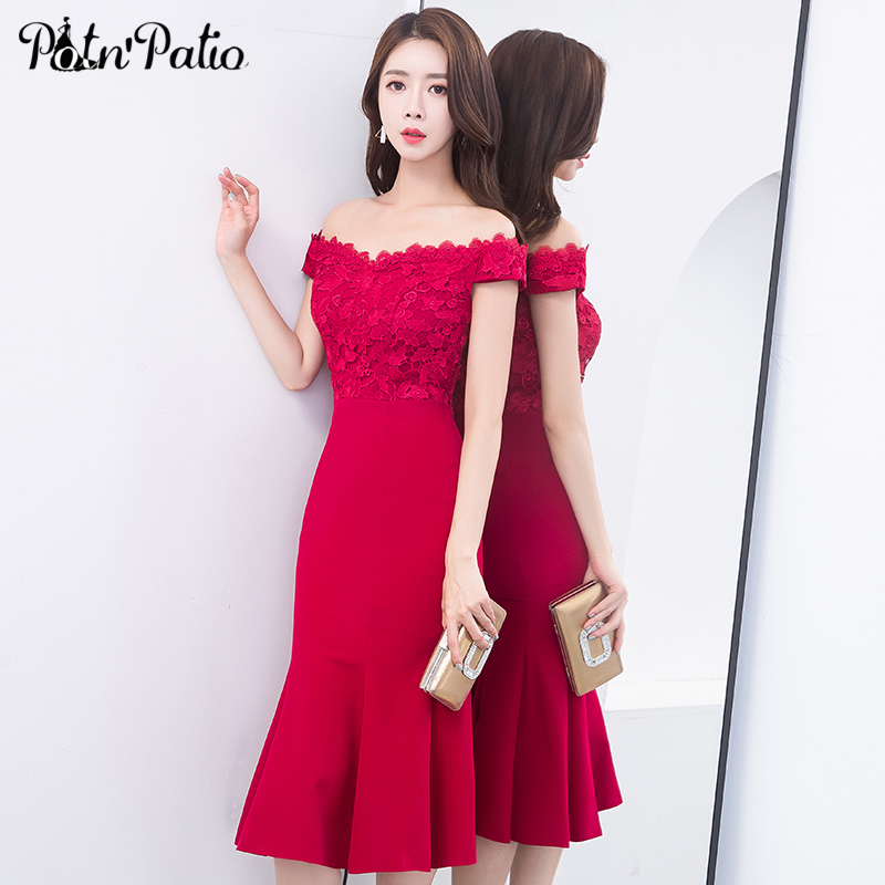 Elegant Sexy Boat Neck Off The Shoulder Wine Red Mermaid Cocktail Dresses 2018 Evening Party Plus