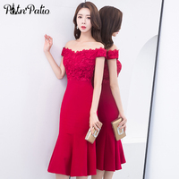 Elegant Burgundy Mermaid Cocktail Dresses Sexy Off the Shoulder Open Back Tea Length Lace Cocktail Party Dress Women Formal Gown