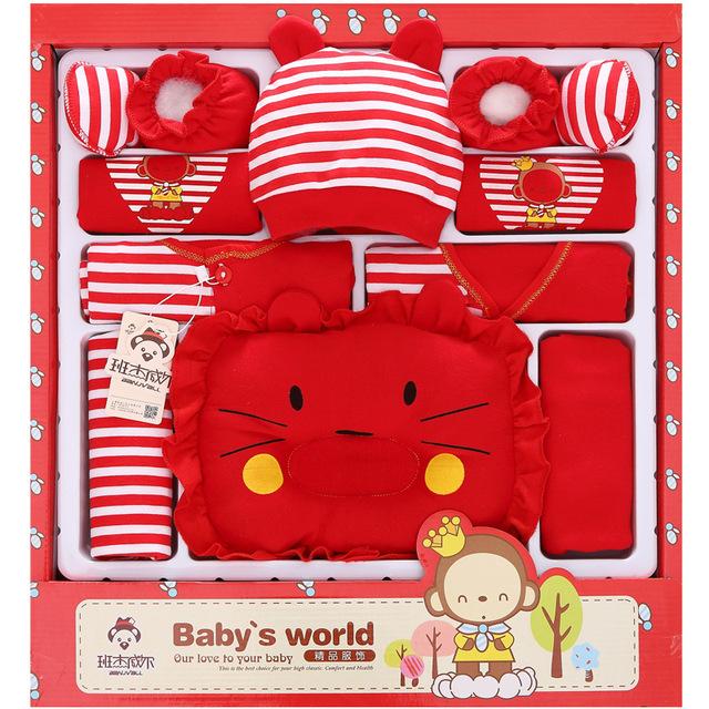 Mono rojo 100% Algodón Otoño Invierno Recién Nacido Set de Regalo de Luna Llena Bebé de la Ropa Del Bebé Set de Regalo ropa de bebé recién nacido