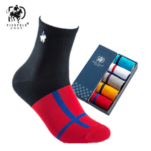 PIER POLO Mens Casual Embroidered Gift Socks Striped Cotton Deodorant Breathable 5 Pairs Beautiful Boxed