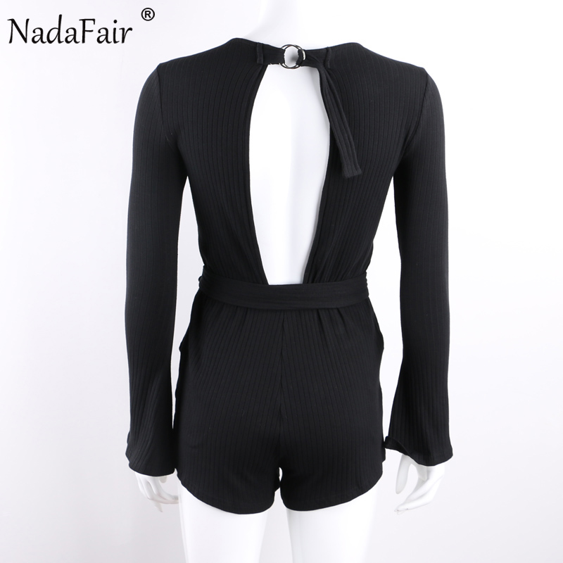 b8571e5003d1 Nadafair Flare Sleeve Open Back Women Casual Playsuits Autumn Long Sleeve  Cotton Knitted Sexy Jumpsuits With Belt -in Rompers from Women s Clothing  ...