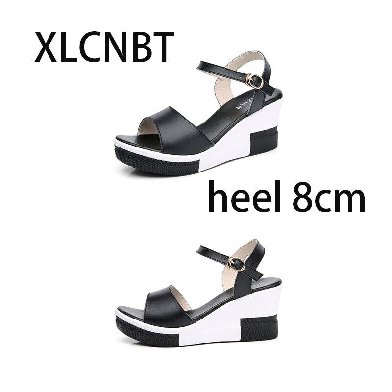 Bas Blanc White Nouveau Épais Chaussures Noir black Sandales Sandale Haute Femmes Été Dames 2018 Cuir Avec En Pente D2bHWEIYe9