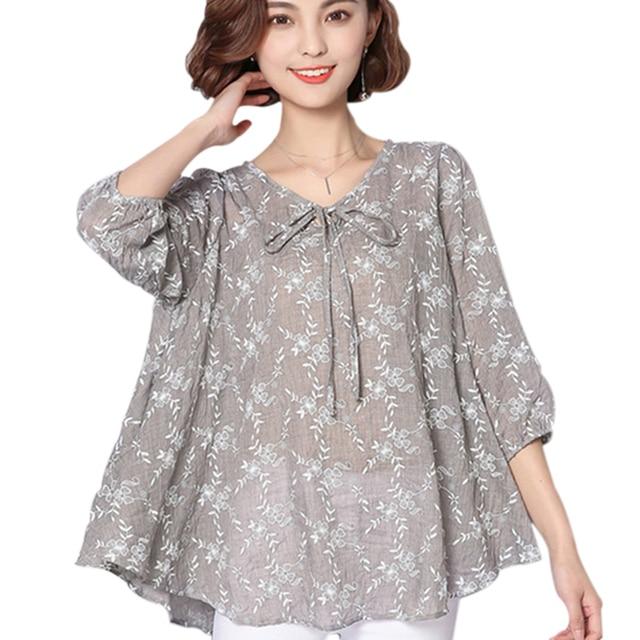 Autumn Women Blouses And Tops 2018 Loose Linen Cotton Blouse Tunic
