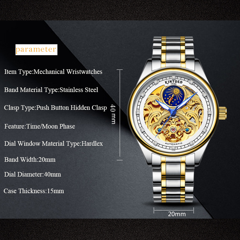 KINYUED Fashion Mens Mechanical Watch Brand Automatic Waterproof Skeleton Watches Men Gold Moon Phase Diamond reloj hombre 2019 3