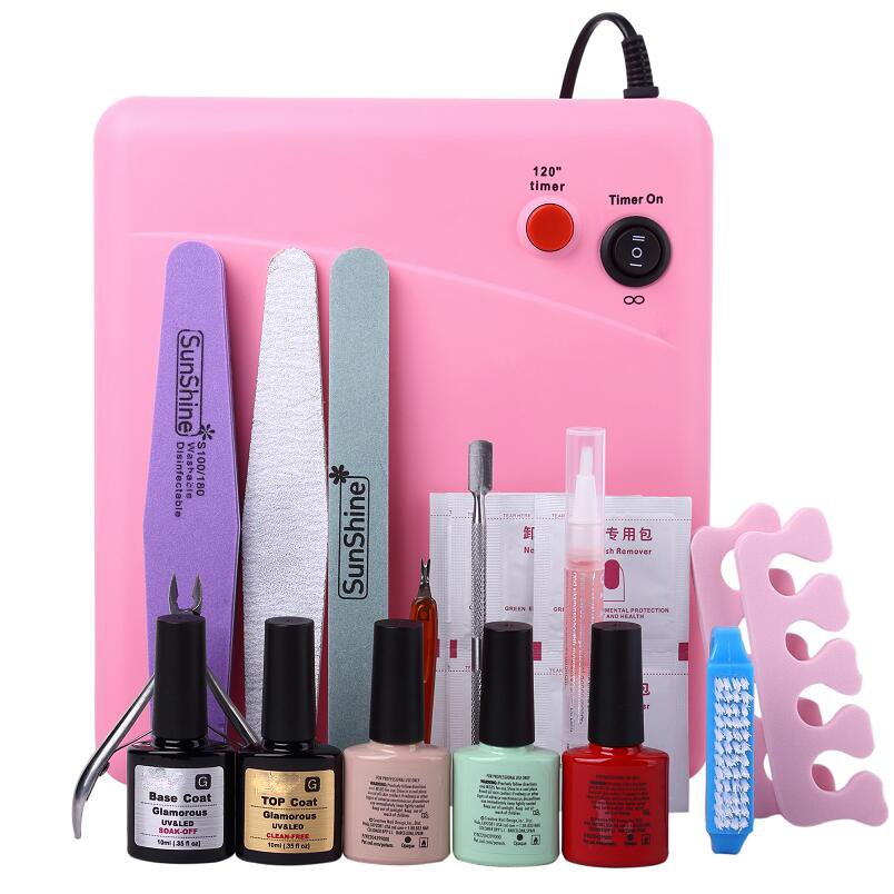 Professional Nail Art Manicure Tools UV Nail Set With 36W Polish Dryer Lamp And 3 Colors Gel Nail Lacquer Polishes cnhids nail manicure nail polish tools set 10 in 1new 36w uv lamp 7of resurrection and portable package five 7 3gsoaked uv glue