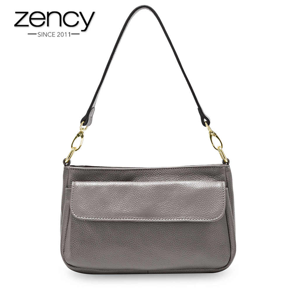 Zency много цветов женская сумка на плечо 100% натуральная коровья кожа Очаровательная серая Женская сумка через плечо Сумочка элегантная сумочка