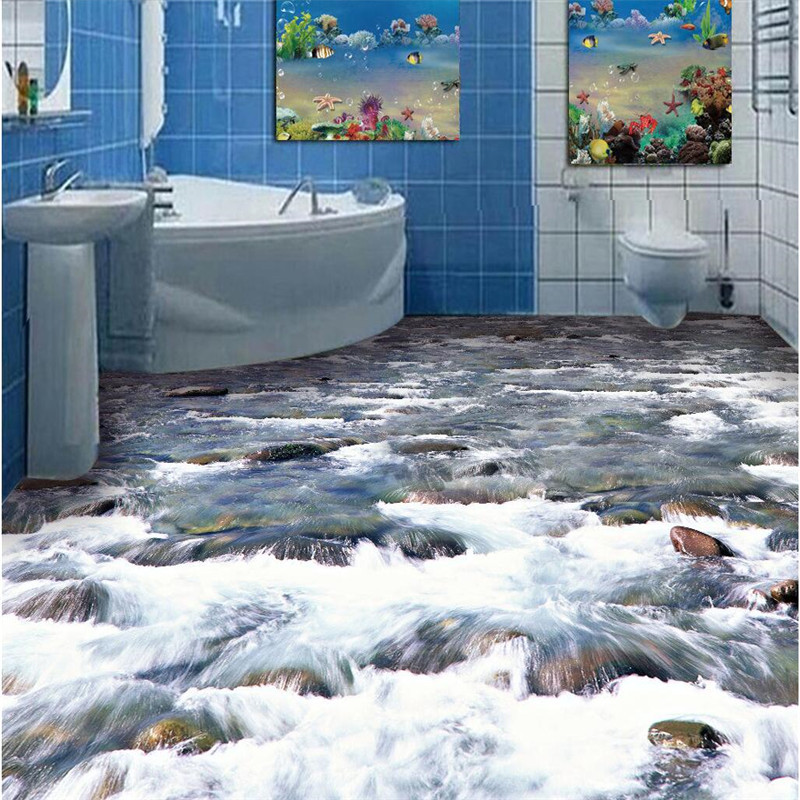 Custom Photo Floor 3D Wall paper crystal clear river water Bathroom Floor Mural-3d PVC Wallpaper Self-adhesive wall sticker