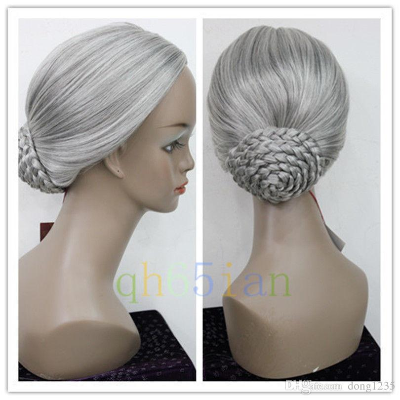 New Retro Gray Braid Hair Bun Women Granny Party Cosplay Wigs fire granny 2018 11 20t20 00