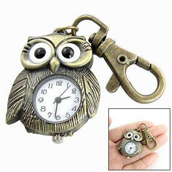 White Dial Bronze Tone Night Owl Shape Keyring Watch