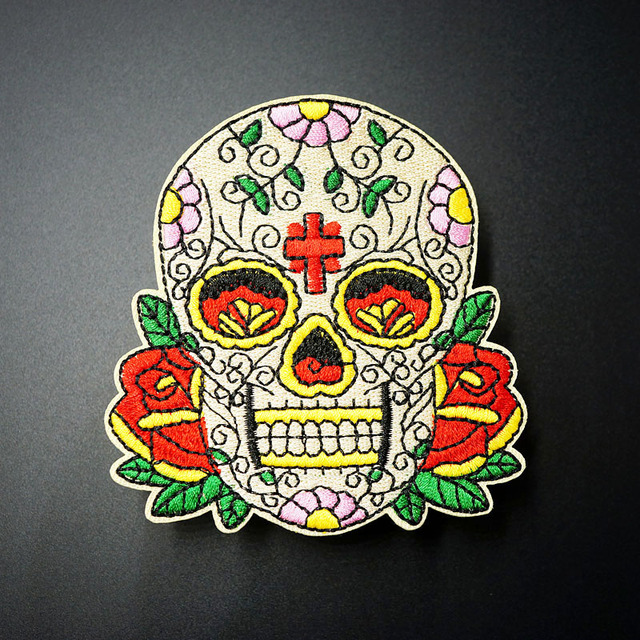 Skull Size 8 0x8 5cm Diy Cloth Badges Mend Decorate Iron On Patch