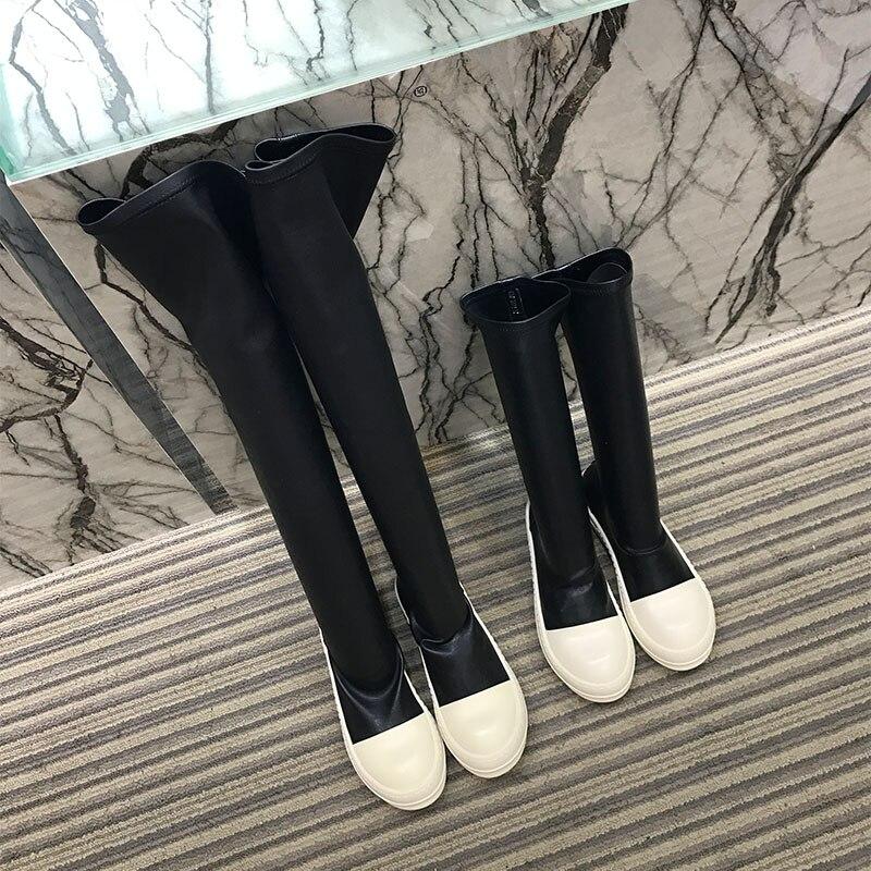 Mujeres Delgado Negro La Zapatos Stretch Pasarela Mujer Alta Casuales Moda Elástico Encima Por Las Patchwork Rodilla De Flats Plataforma Botas gCwcqwdv