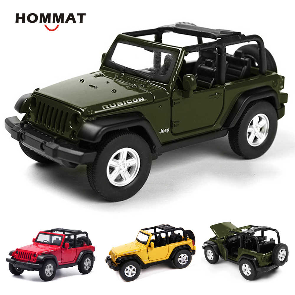 HOMMAT Simulation 1:32 Jeep Wrangler Rubicon SUV Vehicle Alloy Diecast Toy Car Model Collection Kids Gift Cars Toys For Children