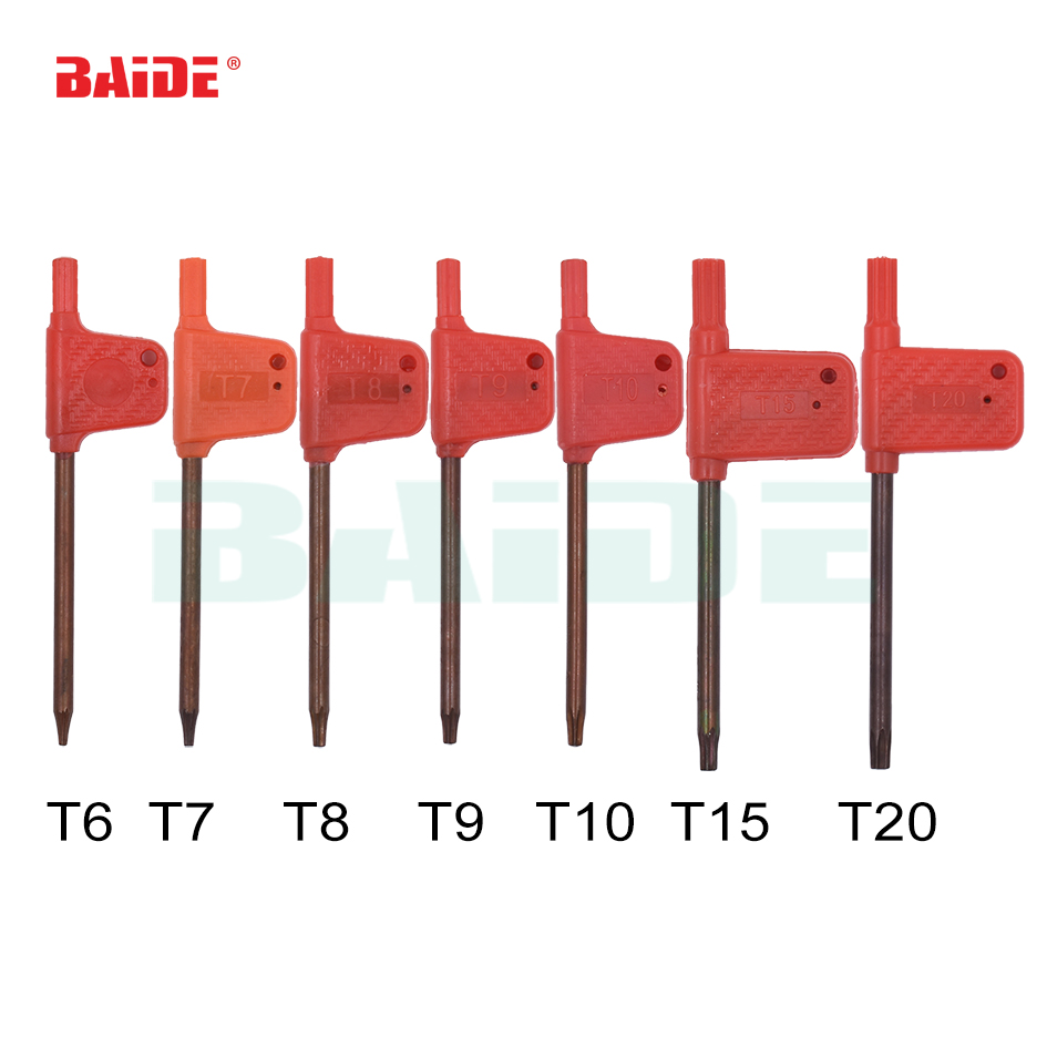 T6 T7 T8 T9 T10 T15 T20 Torx Screwdriver Spanner Key Small Red Flag Screw Drivers