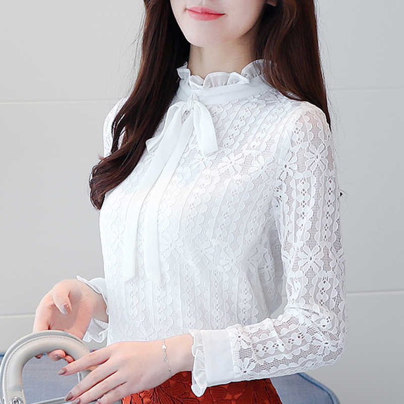 09d84b9aa8 New 2019 Plus size Women clothing White lace Shirt Tops Cutout basic female  Elegant long-