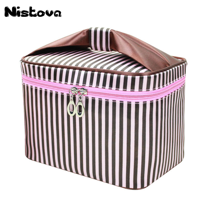 Striped Cosmetic Bag Professional Makeup Box Women Fashion Travel Make Up Necessaries Organizer Zipper Toiletry Kit Case Pouch цена и фото