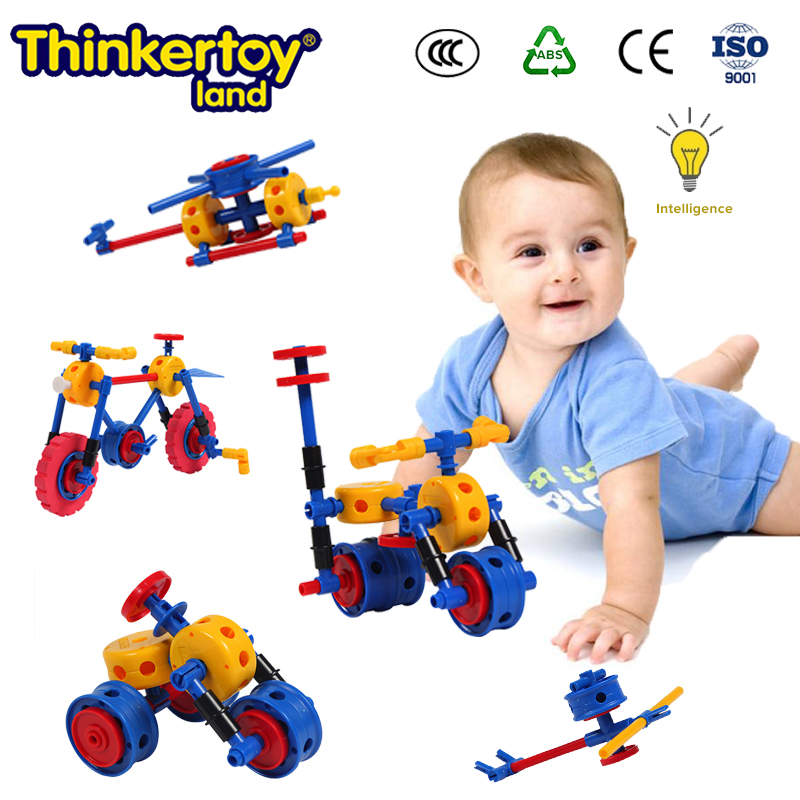 Thinkertoy Land 52 PCS Child Game Blocks Cars Bicycles Motorcycle DiY Educational Block Assembly Toys Kids Gifts Drop Shipping