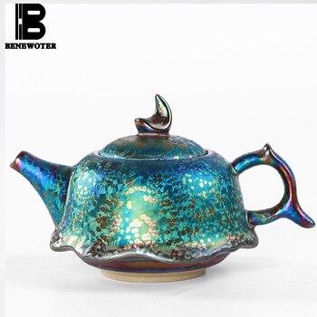 220ml Chinese Dehua New Bone China Tea Pot Jingdezhen Pigmented Tea Maker Tian Mu Glaze Color Porcelain Kung Fu Tea Set Kettle