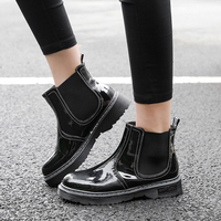 Patent Leather Boots Women Slip On Botas Mujer Dr Martin Boots Winter Plus Size Shoes Woman Ankle Boots Femme 2018 Booties 34 43