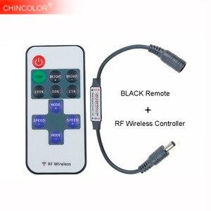Led Dimmer Controlador + Mini Sem Fio RF Remoto 11Key PRETO DC5V 12 V 24 V Para 5630 5050 3528 Único cor de Luz Led Tira Novo JQ