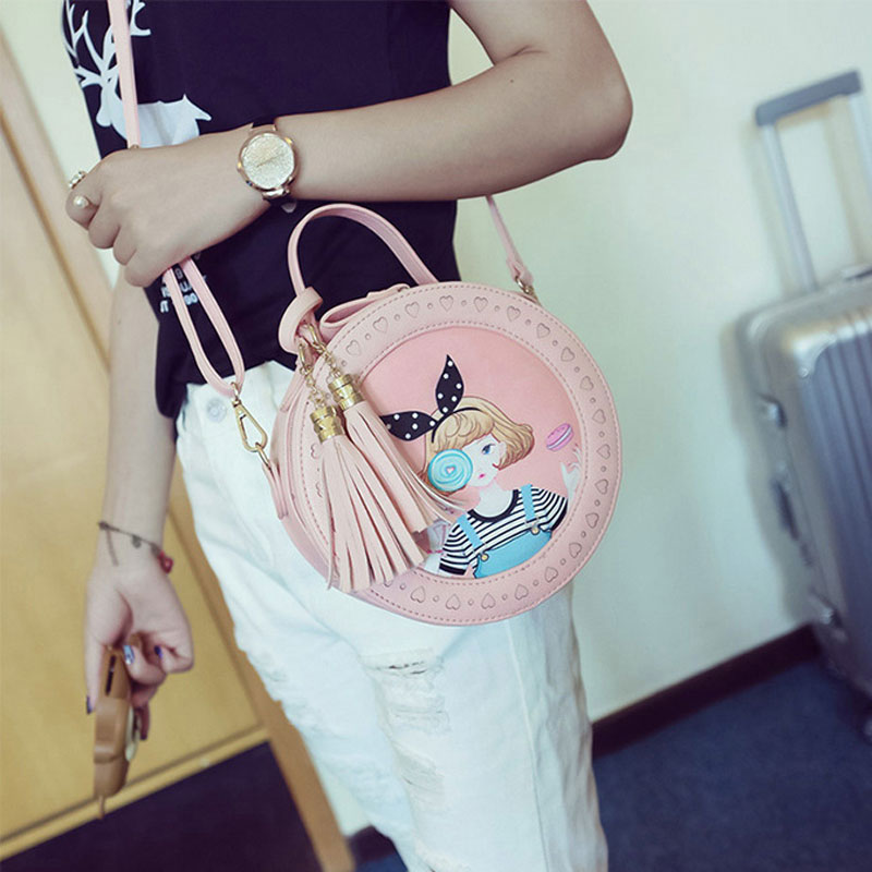 Fashion Korean Version Young Ladies Shoulder Bags Cartoon PU Women Messenger Bags Sling Embroidered Crossbody Bags For Women