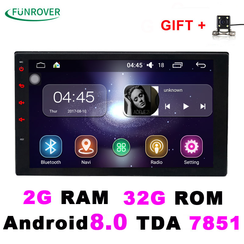 2018 Sale 2 Double Din Universal Car Radio Dvd Player Stereo 2g+32g 7 Inch Android 8.0 Autoradio Gps Navigation Quad-core Bt Fm in dash 1 one din 7 inch car dvd gps player radio bluetooth gps navigation rds usb universal auto stereo 800 480 high quality