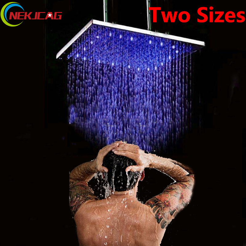 Led Two Sizes Polished Chrome Stainless Steel 50CM 20 Rain Shower Head Bathroom Shower Sprayer Ceiling