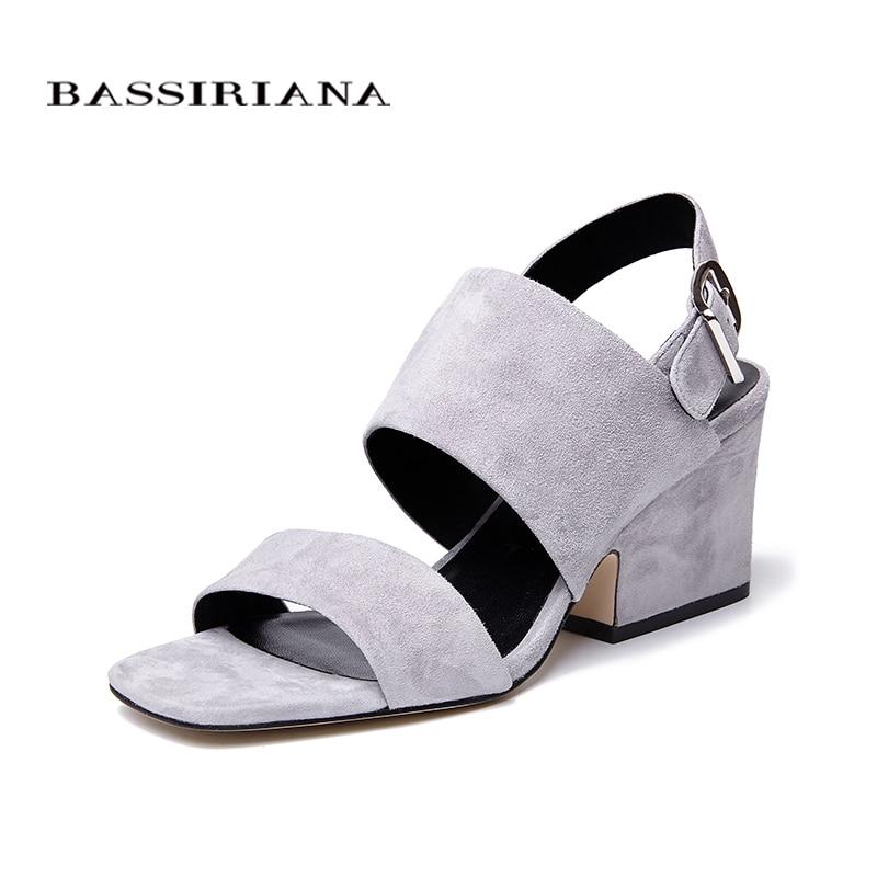 BASSIRIANA clásico cuero genuino zalea zapatos mujer verano sandalias hoof tacones altos hebilla Correa negro gris 36-41 tamaño