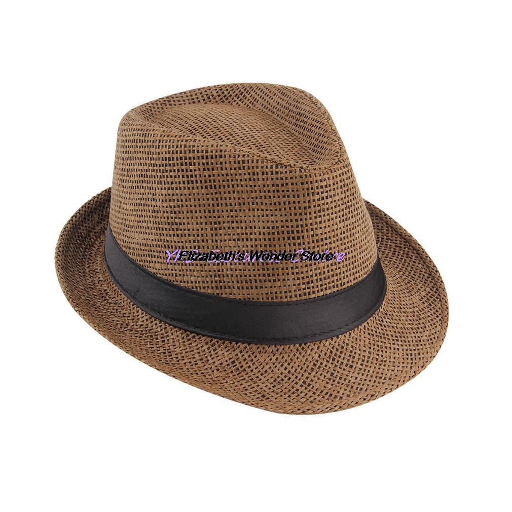 Fishing Hat Womens Mens Fedora Trilby Gangster Cap Summer Beach Sun Straw  Panama Hat with Ribbow Band Sunhat-in Fishing Caps from Sports   Entertainment  on ... 2e2ee189c048