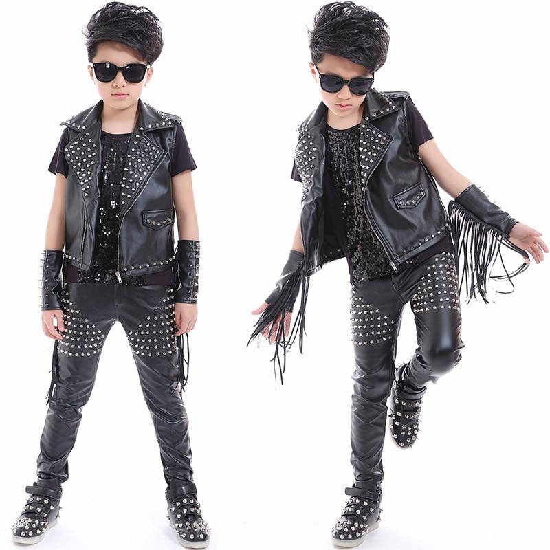 Boys Hip Hop Dance Jazz Stage Costumes For Kids Studded Black Leather Pants Jacket Vest Stage Performance Wear Clothes DNV10045