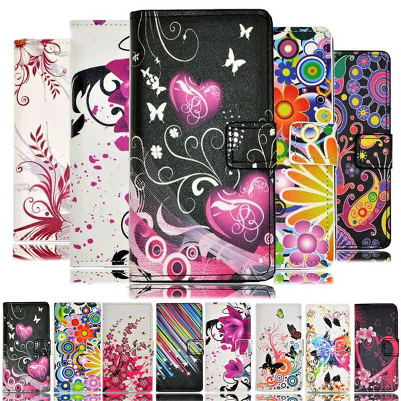 Fashion Love Heart Flowers Butterfly Leather <font><b>Case</b></font> Cover For <font><b>LG</b></font> <font><b>Leon</b></font> <font><b>4G</b></font> <font><b>LTE</b></font> H324 H320 H340N H326T C50 C40 Wallet Card Cover image